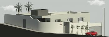 Vista Externa da Casa, na qual se pode ver a garagem, Entrada Principal, Entrada Lateral, e também é possível perceber a declividade do terreno.