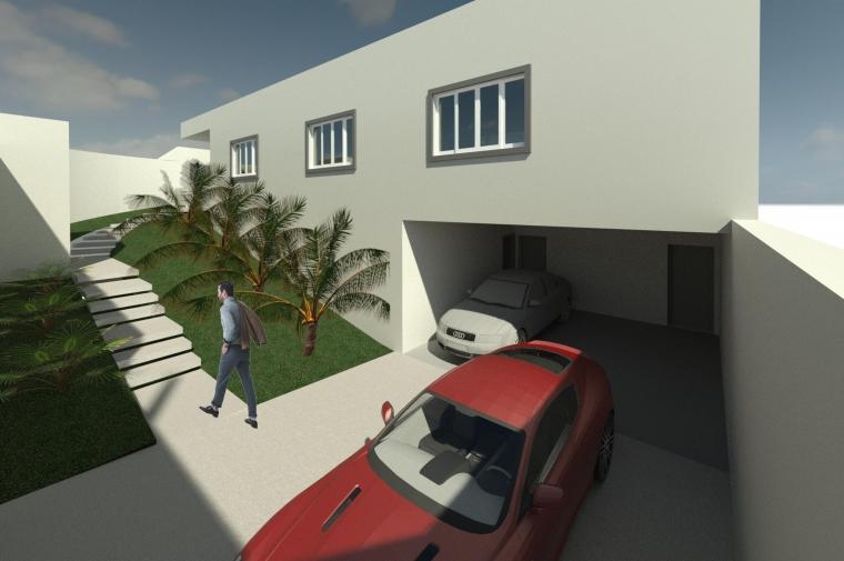 Foto da Garagem, com 2 vagas cobertas e 2 descobertas, e mostrando o acesso externo para a casa.