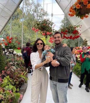 Lara com o marido engenheiro eletricista e florianopolitano Iuri Figueiredo e o rec�m-nascido australianoNoah Trindade Figueiredo em Ballarat Botanical Gardens, Jardim bot�nico na Austr�lia.